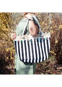 Színes csíkos vászon táska