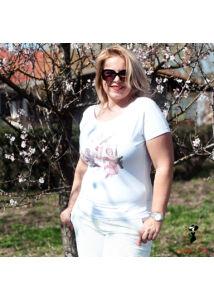 Angyal-mintás pamut póló
