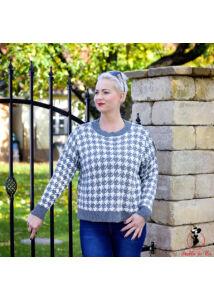 Tyúklábmintás kötött pulóver