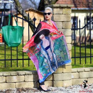 Klimt festmény-mintás selyem sál