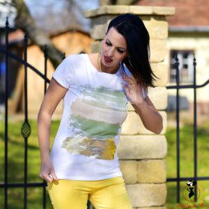 Arany/keki vízszintes ecsetvonásos- póló
