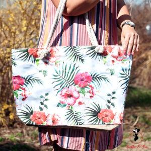 Virágmintás vászon táska