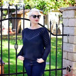 Elegáns mintás kötött pulóver