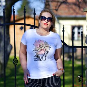 Cipős-virágdíszes póló