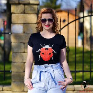 Piros katicás- fekete póló