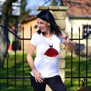 Piros flitteres női ruhás- póló