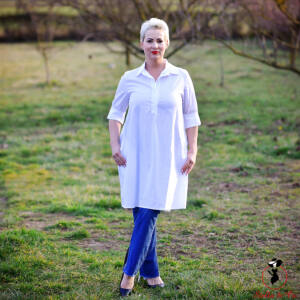 A-vonalú hosszú fehér ing/ruha