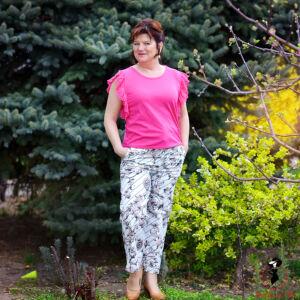 Csíkos-inda mintás vászon nadrág