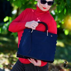 Elegáns fodros fekete táska