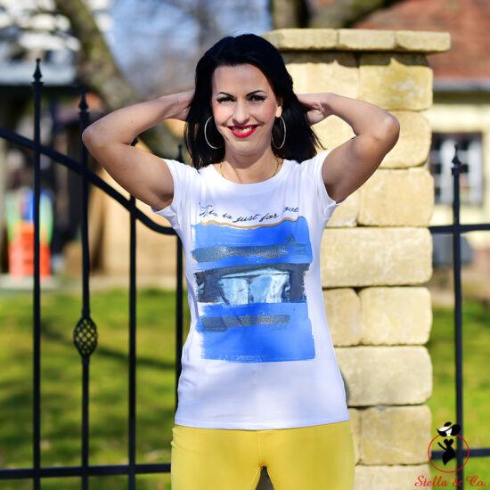 """""""This is just for love""""-feliratos kék vízszintes ecsetvonásos- póló"""