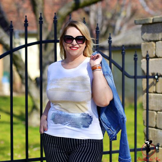 Arany/kék vízszintes ecsetvonásos- póló