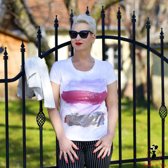 Lila/arany vízszintes ecsetvonásos- póló