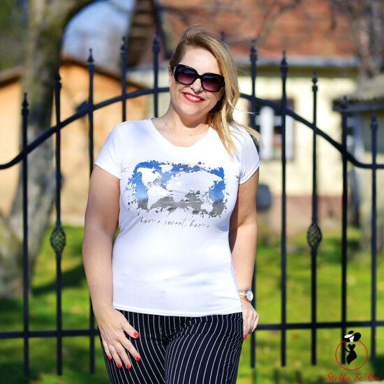 Ezüst home sweet home- feliratú póló