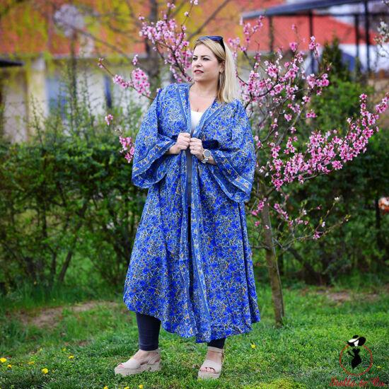 Kék- virágmintás lenge kaftán