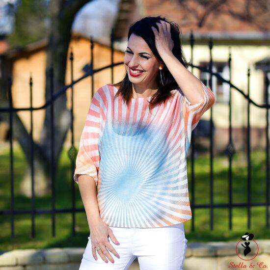 Csíkos-mintás vékony kötött pulóver