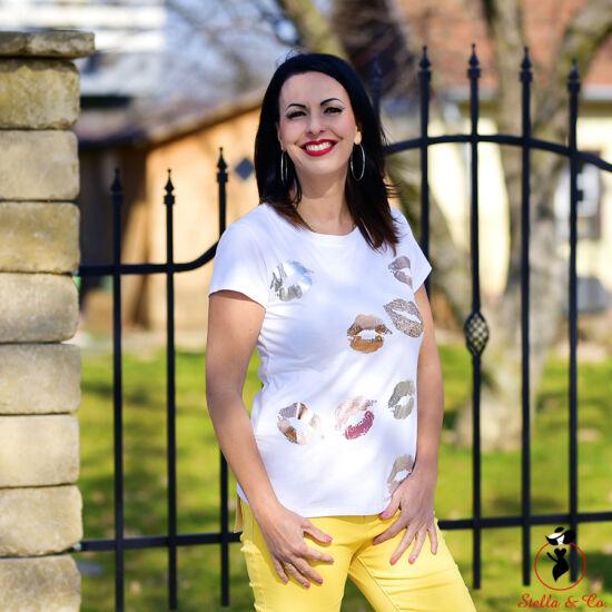 Rozéarany/arany száj-mintás póló