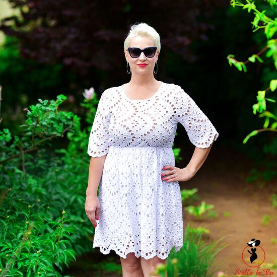 A-vonalú madeira-mintás pamutvászon ruha