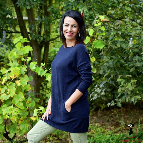 Kasmír anyagú, hosszított pulóver