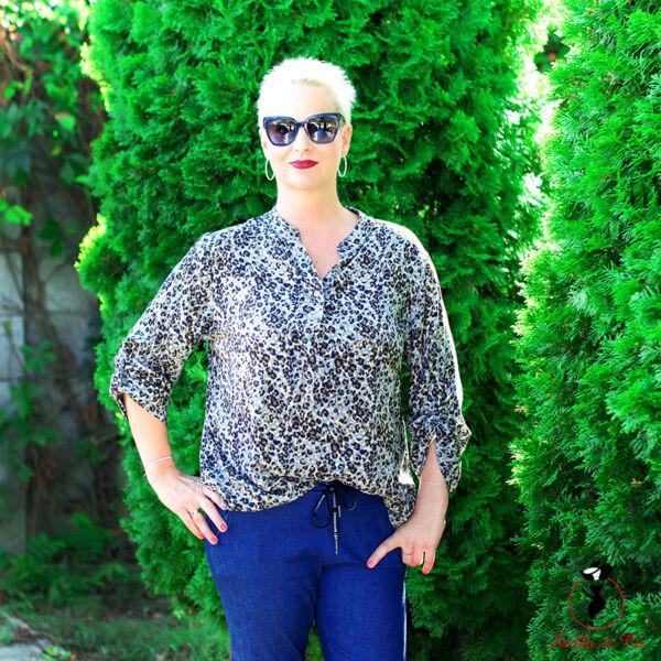 Leopárd mintás pamut ing