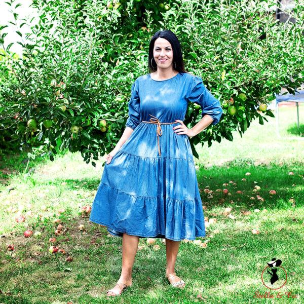 A-vonalú öves farmer ruha